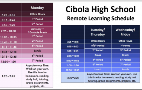 Cibola High School's new Remote Learning schedule