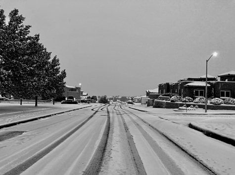 Albuquerque, NM- A street after a shocking snowstorm