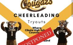 Cibola's Cheer Team released an announcement postponing tryouts with this image.
