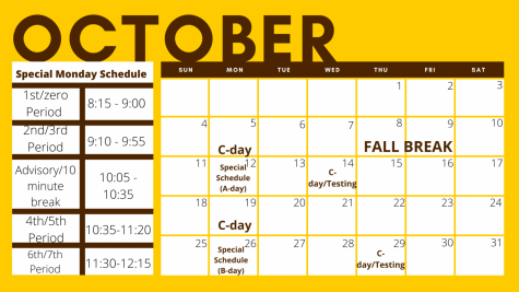 The new calendar for the month of October