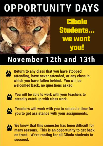 A flyer attached to Cibola