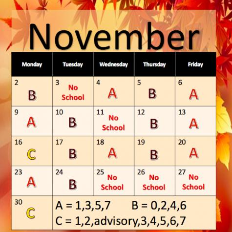 Calendar for Nov. 2020.