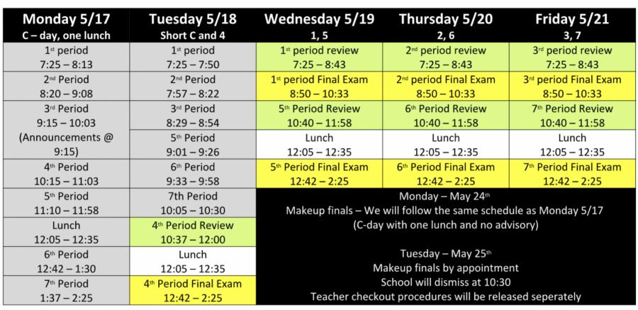 Friday + Finals Week Schedule