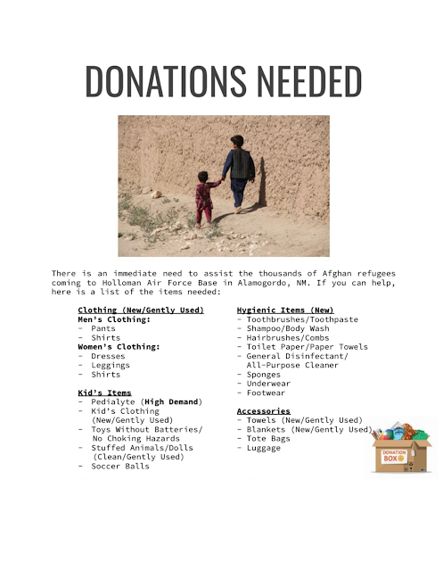 Donations Needed for Afghan Refugees by Sep. 24